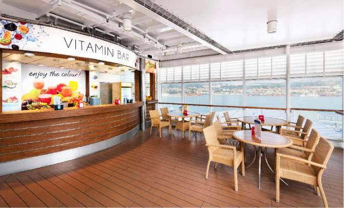 Een vitamine bar op de MSC Lirica