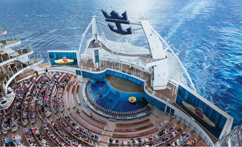 Het water theater op de Harmony of the Seas